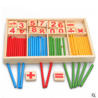 Set of Wooden Sticks and Number Blocks