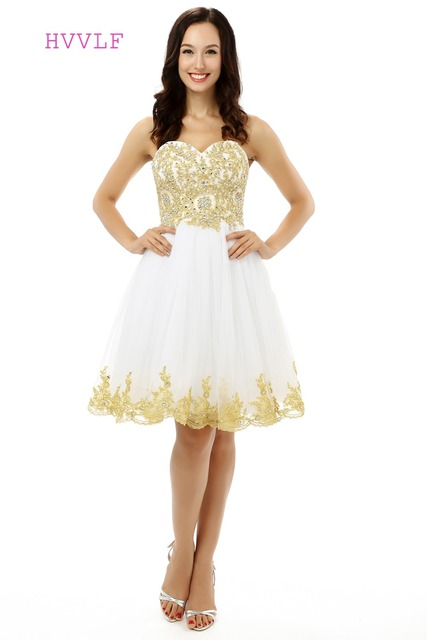 33ac96a4e42 Gold Homecoming Dresses A-line Sweetheart Tulle Lace Beaded Crystals Short  Mini Sparkly Sweet 16 Cocktail Dresses 2019