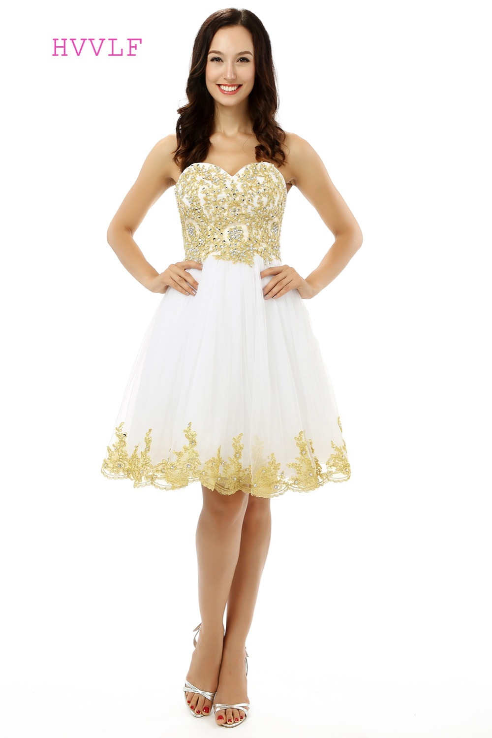 Gold Homecoming   Dresses   A-line Sweetheart Tulle Lace Beaded Crystals Short Mini Sparkly Sweet 16   Cocktail     Dresses   2019