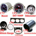 "Universal 2"" 52mm 12V Car Boost Car LED Gauge/EXT TEMP/Odometer/60mm Gauge/1 Or 3 Hole Gauge Meter/Pod Mount Holder"