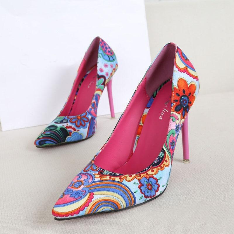 2016 New High heeled Pumps font b Women b font Shoes High Heels Red Yellow Printing