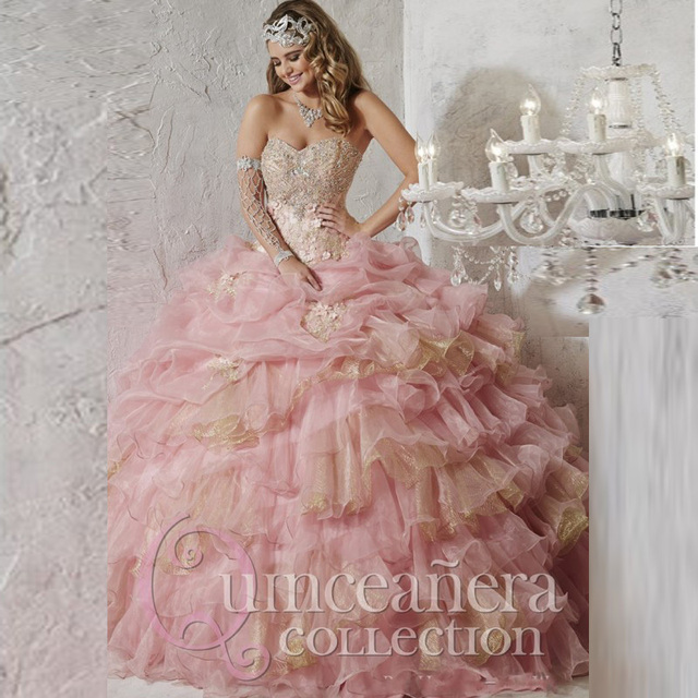 7e566af9f2a Fashionable Sweetheart Beaded Crystal Quinceanera Dresses 2017 Light Pink    Gold Organza Tiered Ball Dress for