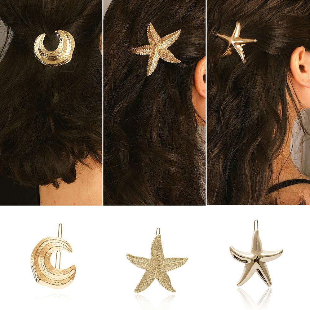Summer Hot Fashion Alloy Gold /silver Color Moon Starfish Shape Hairpins Female Hair Styling Accessories F029