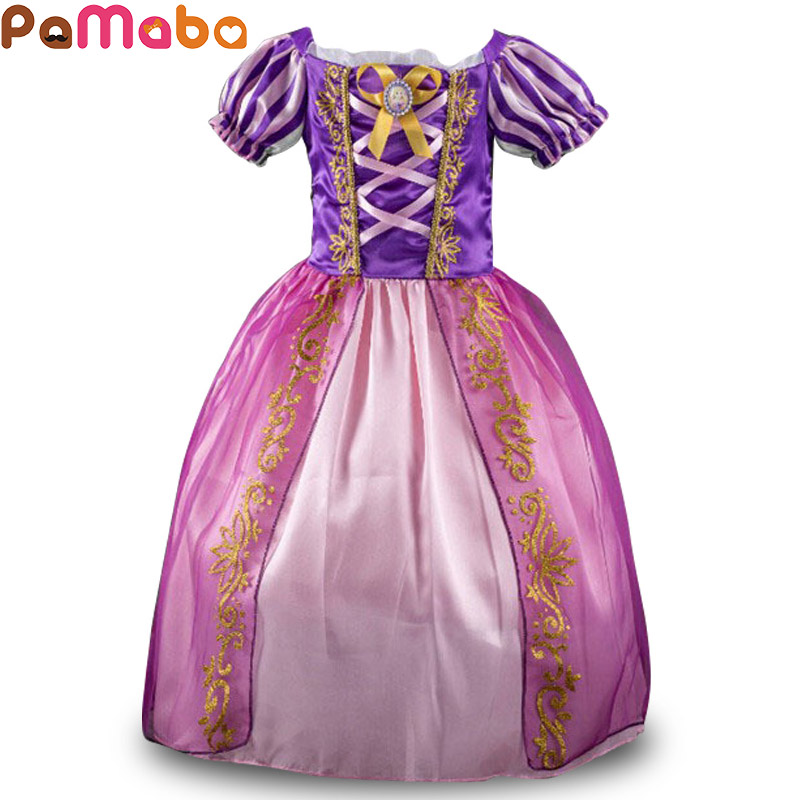 PaMaBa Elegant Princess Dress for Girls Rapunzel Cinderella Cosplay Costume Children's Party Dress-up Snow White Kids Ball Gown new women elegant white dress up clothes lord of the rings the hobbit lady galadriel cosplay costume fariy dress customized