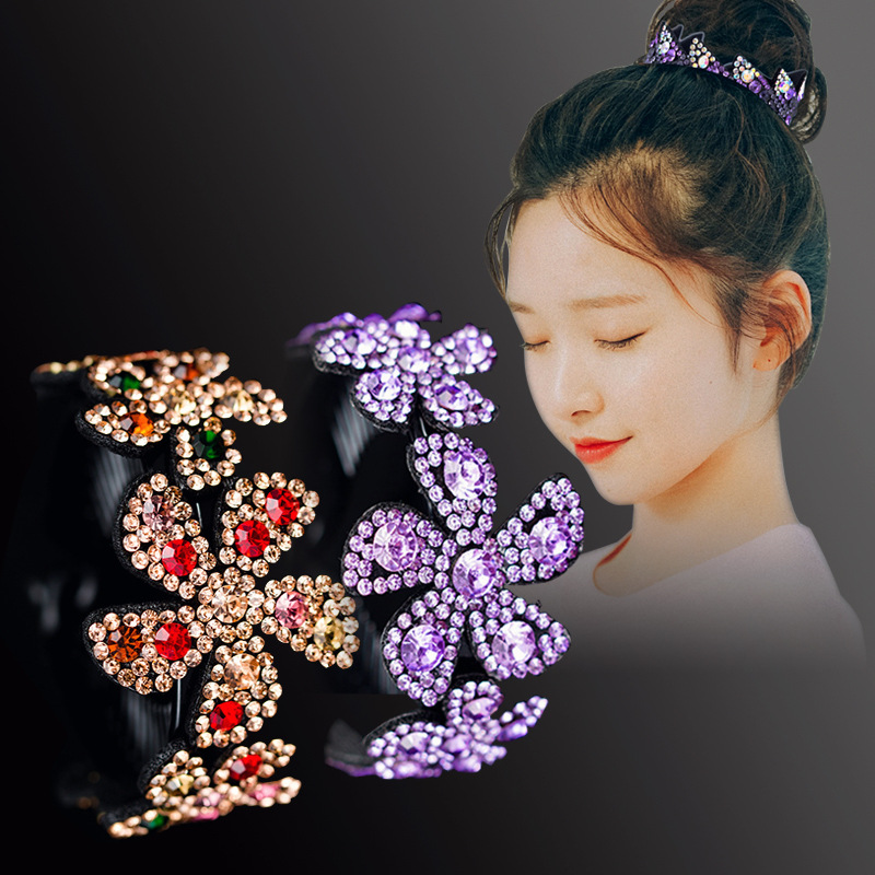 Haimeikang Rhinestone Flower Hairpins for Women Elegant Crystal Twist Hair Clip Round Barrettes Headwear Hair Accessories