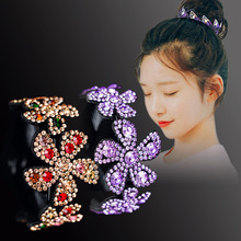Haimeikang Rhinestone Flower Hairpins for Women Elegant Crystal Twist Hair Clip Round Barrettes Headwear Hair Accessories