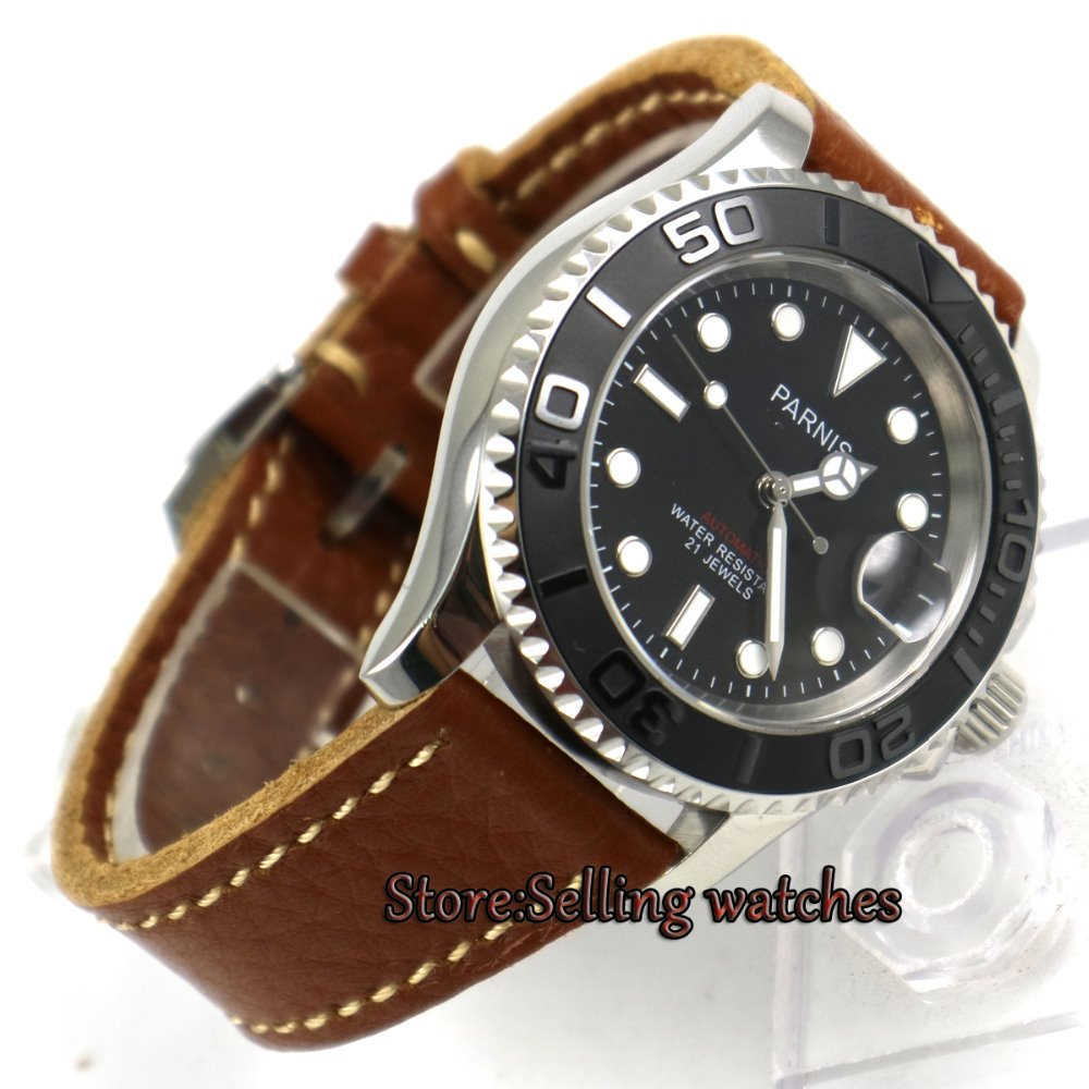 41mm Parnis black dial luminous Sapphire glass miyota automatic mens watch P8