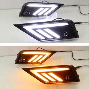 Image 1 - 2 * LED النهار تشغيل أضواء الجبهة ضوء أضواء خارجية ل Volkswagen تيجوان ل السيارات مقاوم للماء سيارة التصميم الجبهة ضوء