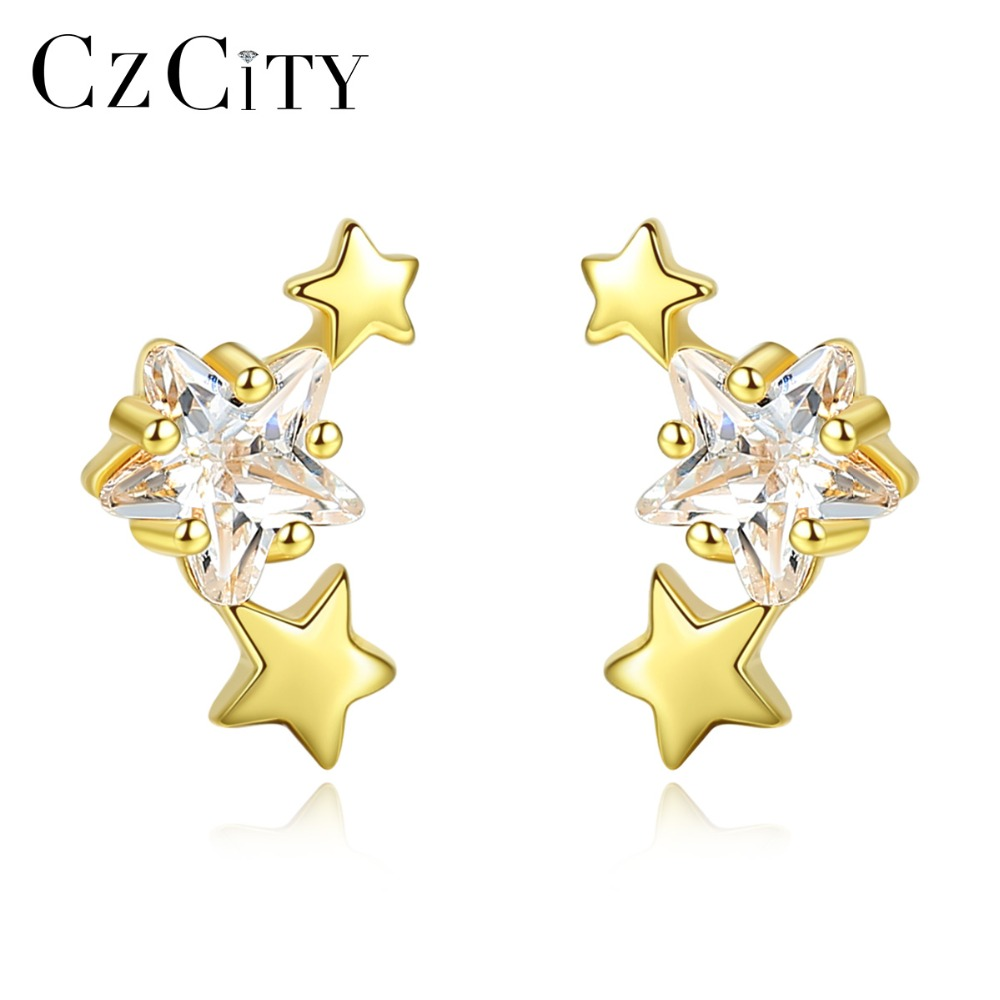 CZCITY Unique Star Zircon Design Stud Earrings For Women Small Double Solid Star Earrings Silver 925 Jewelry Dating Accessories