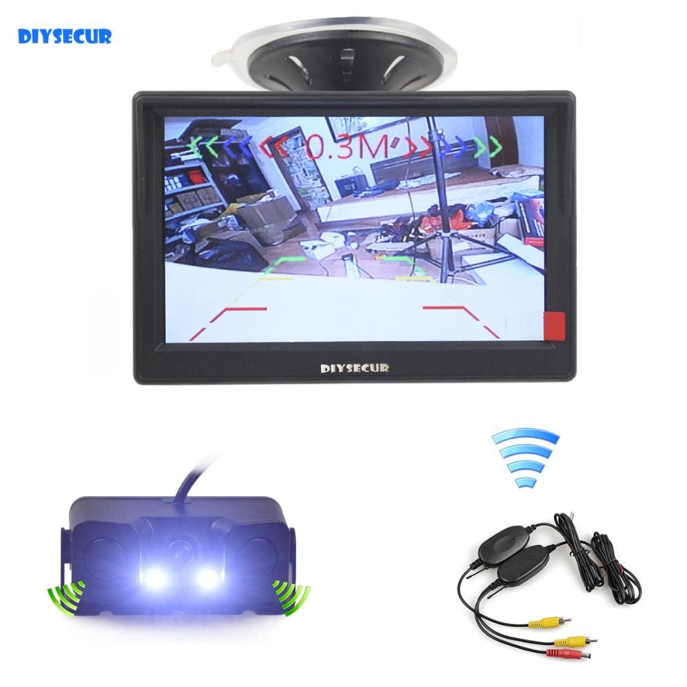 DIYSECUR Wireless 5 Inch TFT LCD Display Car Monitor Waterproof Parking Radar Sensor Car Rear View
