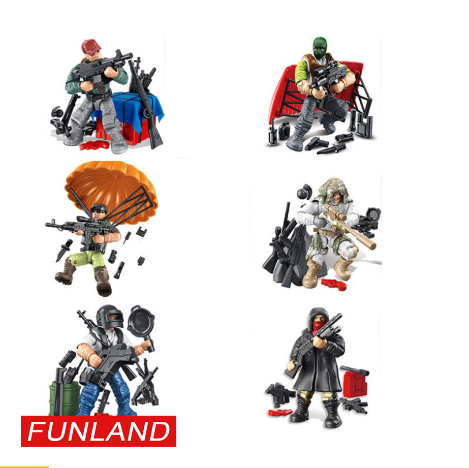 Action modern military figures PUBG mega soldiers minifigs building block Airdrop packet Parachute weapon bricks toys for boys