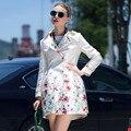 2017 Женщин Пальто Весна Осень Мода Двубортный Цветок Цветочный Принт Тонкий Длинную Траншею Пальто