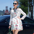 2017 Women Trench Coat Spring Autumn Fashion Double-breasted Flower Floral Print Slim Long Trench Coat