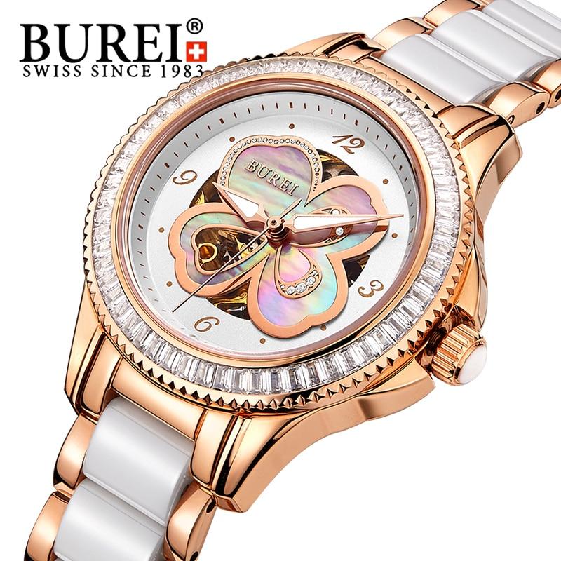 BUREI Watch Women Rhinestone Luxury Mechanical Diamond 50ATM Dress Wristwatch Lady Sapphire Mirror Clock Gift Reloj
