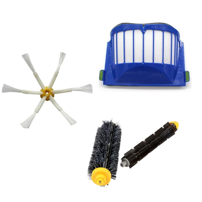 Ecombird For iRobot Roomba Accessories Bristle&Flexible Beater&Armed Brush&Aero Vac Filter for 600 Series 620 630 650 660 for irobot roomba 600 series 620 630 650 aero vac filter brush 3 armed