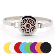 BOFEE Aromatherapy Locket Bracelet Essential Oil Diffuser Bangle Magnetic Sunflower Stainless Steel Fashion Jewelry Gift 25mm
