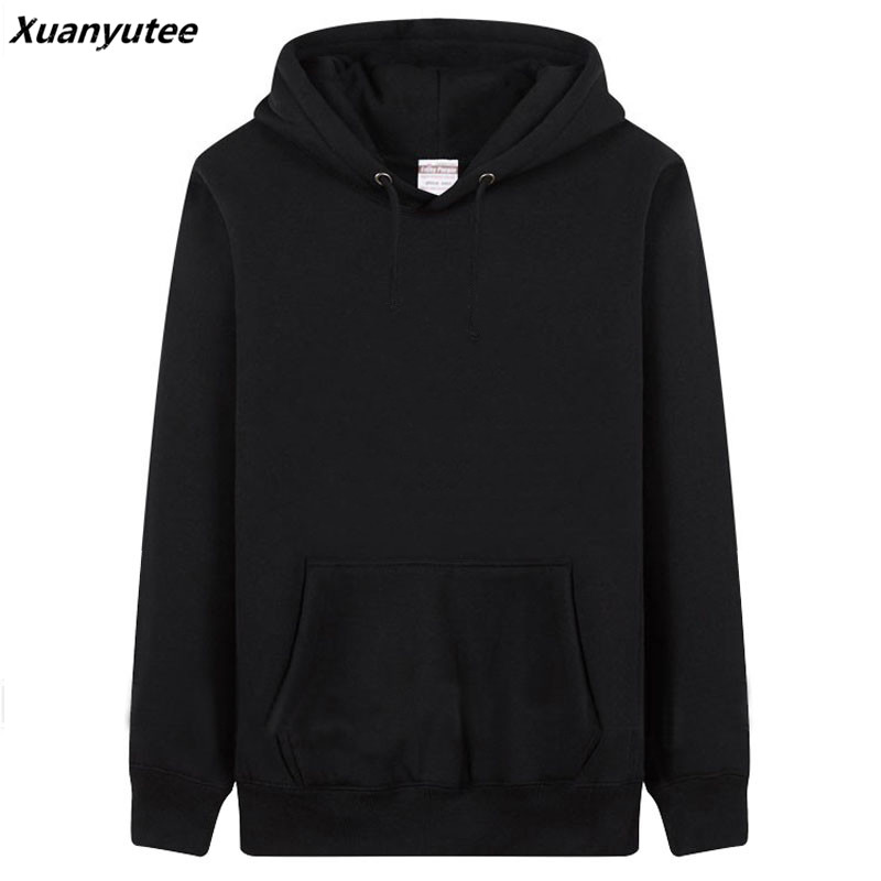 Xuanyutee Men Classic Solid Pullover Fleece Cotton Sweat Homme Casual Fit S 3XL Black O-neck Full Sleeved Customized Logo Hoodie