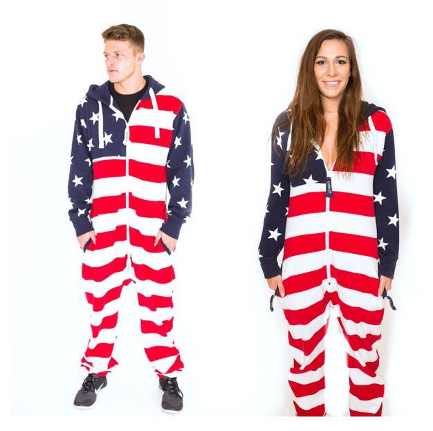 Drapeau américain Onesie Unisexe mode Combinaison Confortable USA Vêtements Américain AF pyjama Couple combinaison haute qualité drop ship