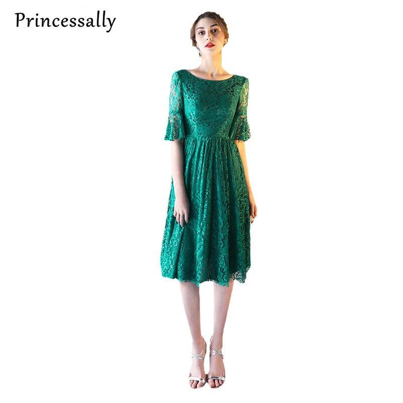 premium selection b0290 4e1a4 US $56.05 5% di SCONTO|Pizzo Abito Da Sera Corto Della Sposa Banchetto  Elegante Verde Smeraldo mezza Manica Abito Del Partito Formal Dress Robe De  ...