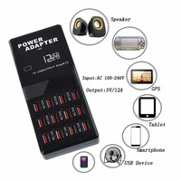 12 Port Multiple USB Charger US EU UK AU Plug 5V 12A Output Max 0 3A