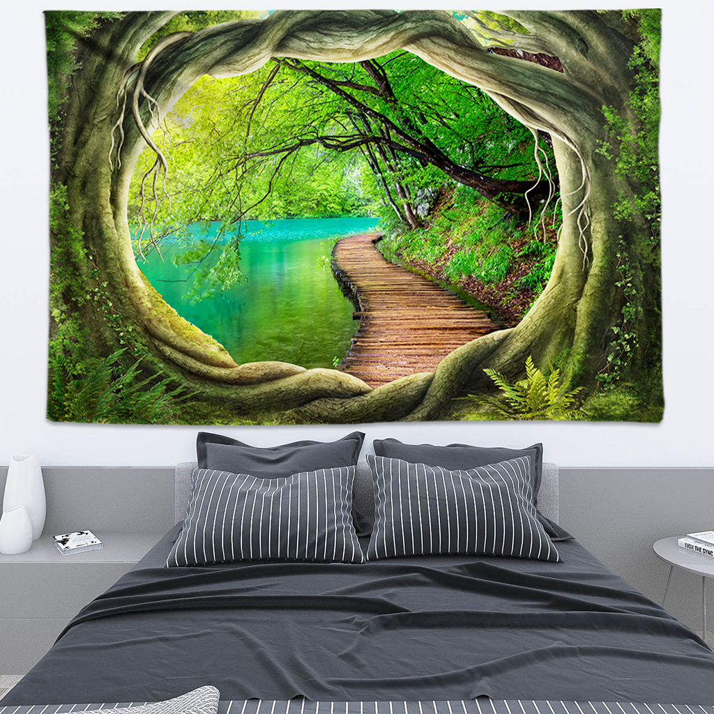 Tree Hole 3D Art Hippie Tapestry Bohemian Decor Indian Mandala Tapestry Wall Hanging Psychedelic Wall Tapestry Boho Wall Fabric in Tapestry from Home Garden