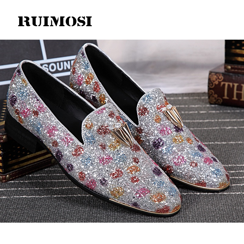 RUIMOSI Plus Size Famous Luxury Rhinestone Man Bridal Loafer Shoes Genuine Leather Round Toe Runway Men's Wedding Flats IK42