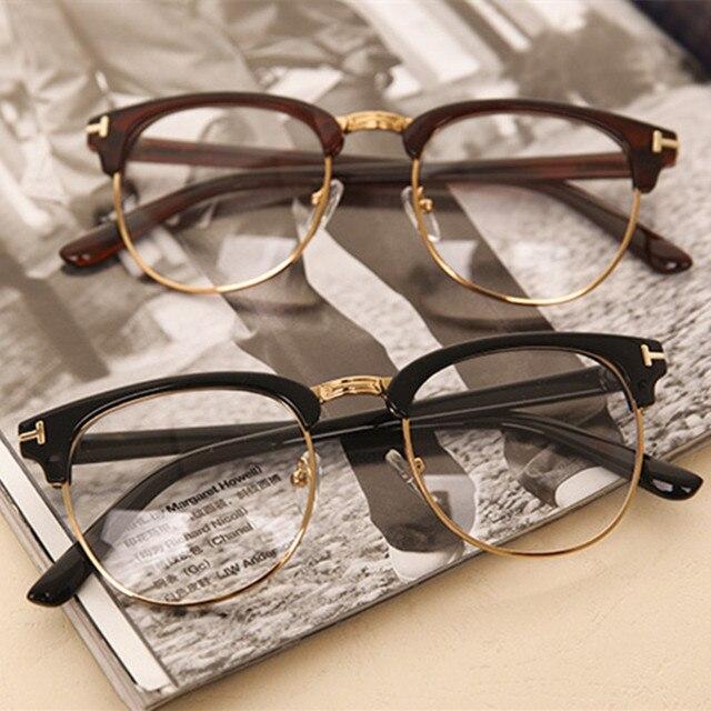 d8afb43609da Retro Fashion Woman Men Reading Glasses Metal Half Frame Glasses Frame UV  Protection Clear Lens Computer