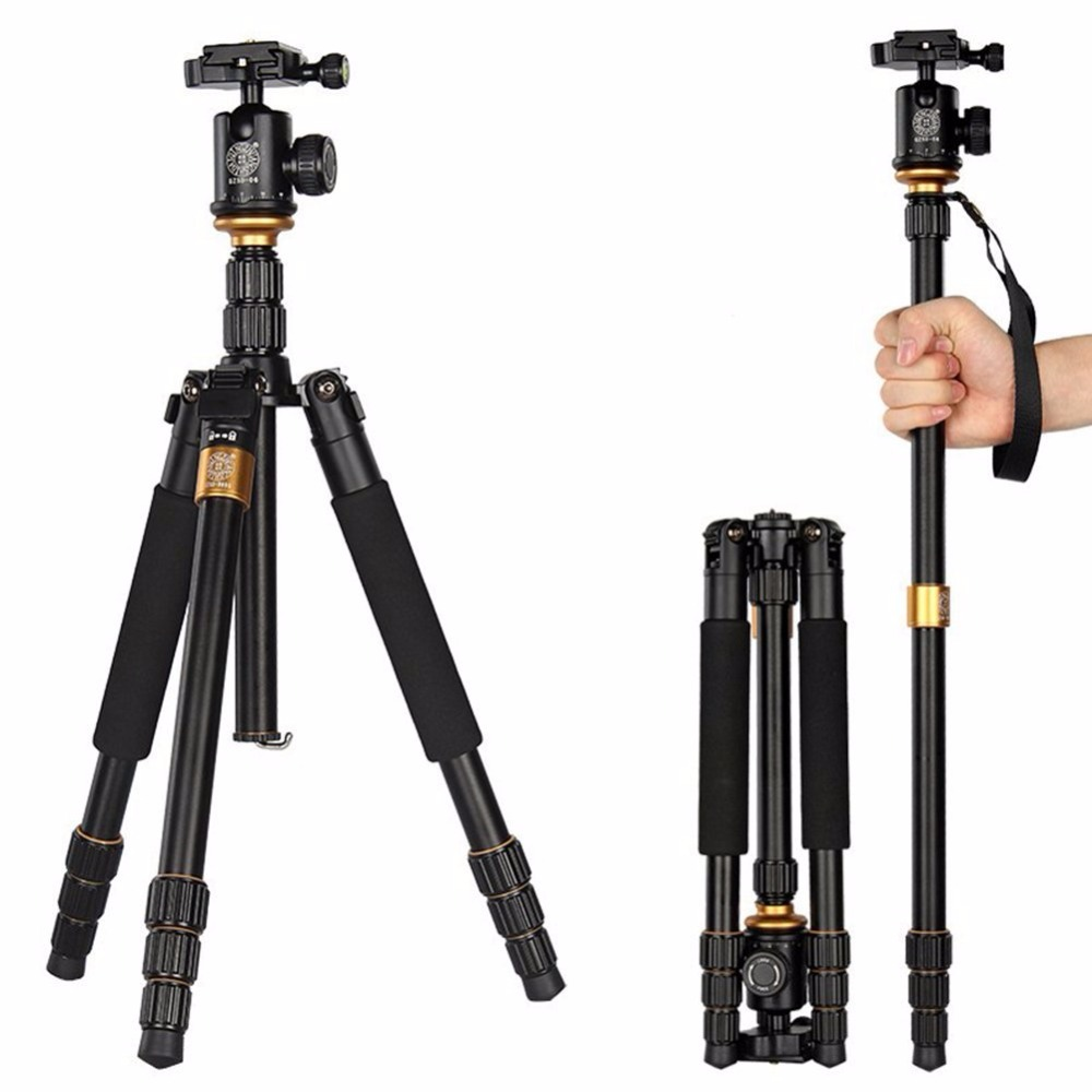 2016 QZSD Q999S Magnesium Aluminum Alloy Compact Portable Traveling Tripod Monopod Stand with Tripod Ball Head and Carrying bag pro portable aluminium alloy tripod monopod qzsd 02 ball head pocket kit q999 q 999