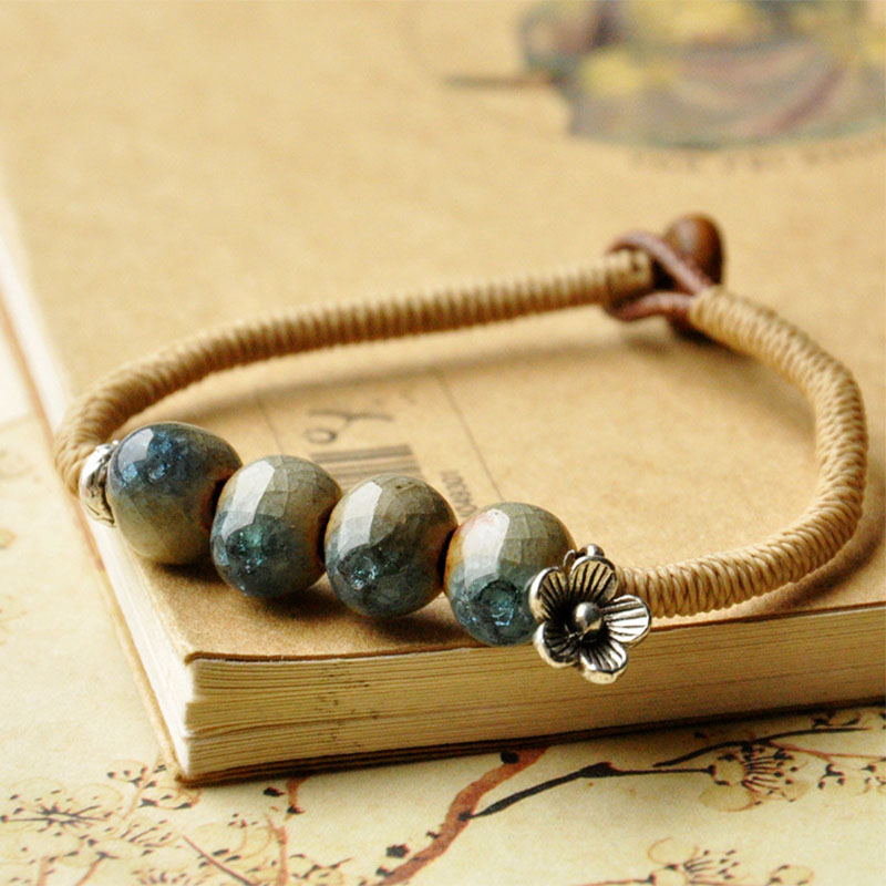 Ethnic Ice Crack Charm Bracelet Ceramic Blue Green Beads Cuff Bangles Women Men Porcelain Jewelry Flower Weave Rope Link Chains