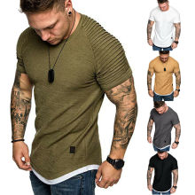 Basic Tee Shirts Short-Sleeve Casual Tops Slim-Fit Muscle Summer O-Neck Solid Pleated-Wrinkled