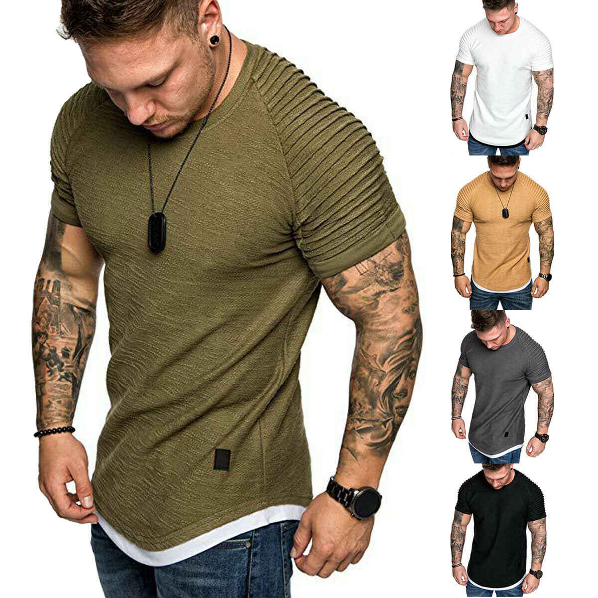 Hot mannen T-Shirts Geplooide Gerimpelde Slim Fit O Hals Korte Mouwen Spier Solid Casual Tops Shirts Zomer Basic Tee nieuwe