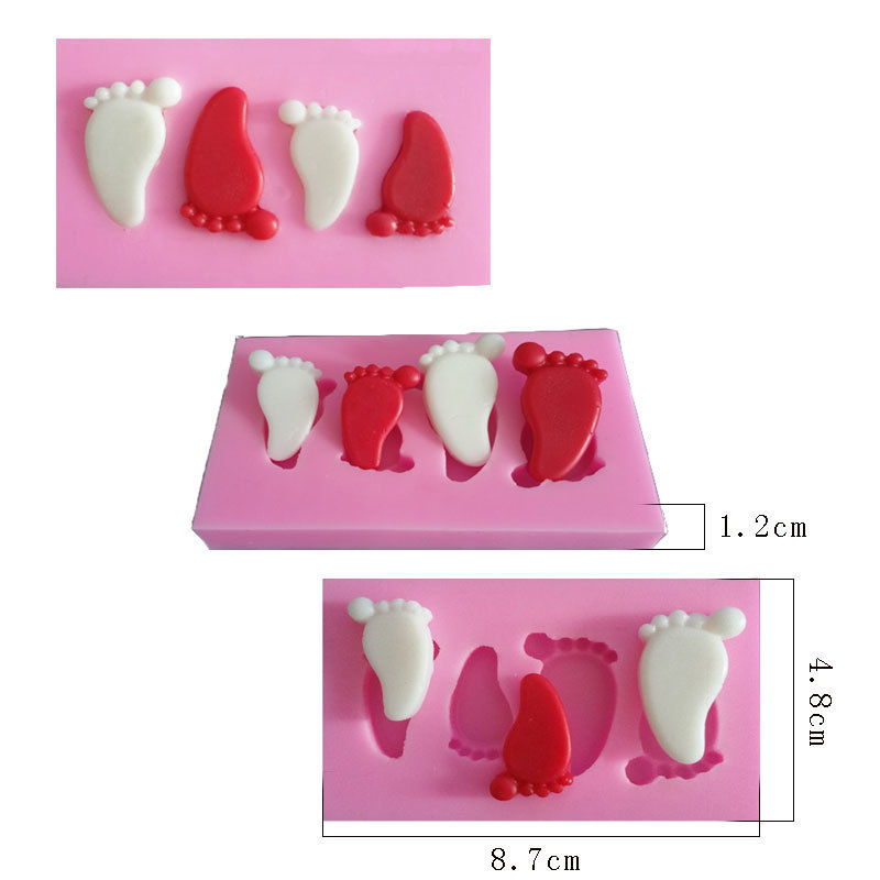 Home & Garden 3d Foot Small Silicone Mold/cake Mold/soup Mold Three Hole Clay Candy Chocolate Mold 50-116 Bakeware