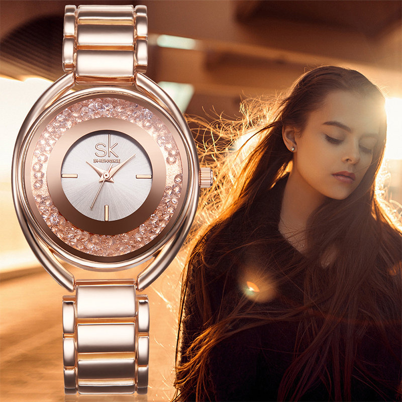 SK Brand Luxury Women Wrist Watches Fashion Rose Gold Silver Stainless Steel Women Quartz Dress Watch