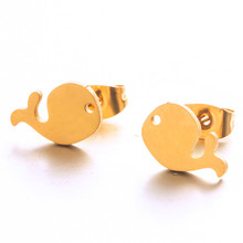 2019 Cute Stainless steel Stud Earrings Golden & Silver Whale Earrings for women Love marine animals jewelry E021771-72
