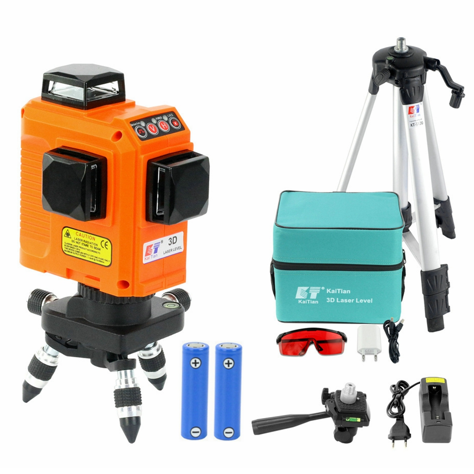 KaiTian 12 Lines 3D Laser Level Tripod Self-Leveling 360 Horizontal 650nm Vertical Bracket Cross Red Laser Beam Line Level Lazer firecore a8826d 2 lines laser level 1v1h1d cross self leveling red beam laser 0 28m tripod