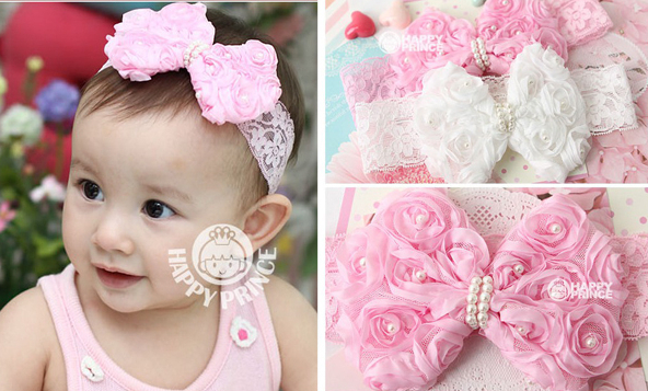 2 colors pick Infant Toddler Girls Baby Headband Bowknot Flower Pearl Hair Band Elastic Lace A014