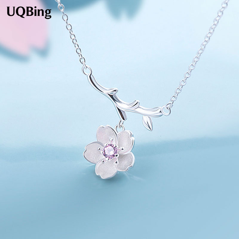 цена на 925 Sterling Silver Sakura Flower Necklaces & Pendants Cherry Blossoms With Chain Choker Necklace Jewelry Collar Colar
