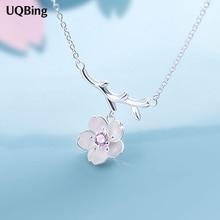 925 стерлингового серебра вишни сакура цветок ожерелья и кулоны с цепи choker ожерелье ювелирные изделия воротник ошейник