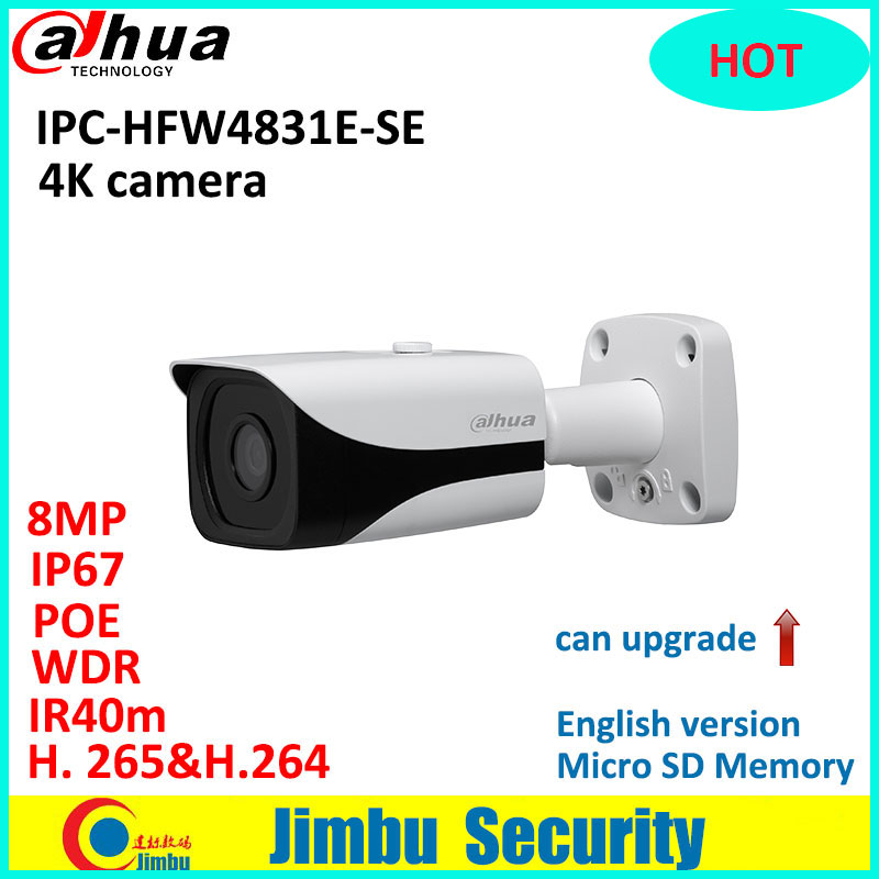 Dahua 4K IP camera IPC-HFW4831E-SE H.265 WDR IR40m Mini 8MP Bullet CCTV Camera IP67 POE Micro SD Memory original English version dhl free shipping english version ds 2cd2785fwd izs 8mp wdr dome network ip cctv camera poe vari focal motorized lens h 265