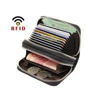 Горячая визитница двойная молния ID держатель кредитной карты кошелек Анти Rfid Блокировка для мужчин и женщин чехол для карт сплошной цвет