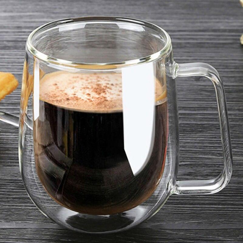 À double Paroi En Verre Tasses 250 ml Haute Qualité Mode tasse Avec Poignée Pour Le Thé Café Au Lait