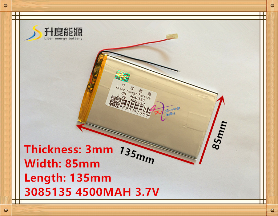 1PCS 3.7V lithium polymer battery 3085135 4500MAH mobile power Tablet PC MID image