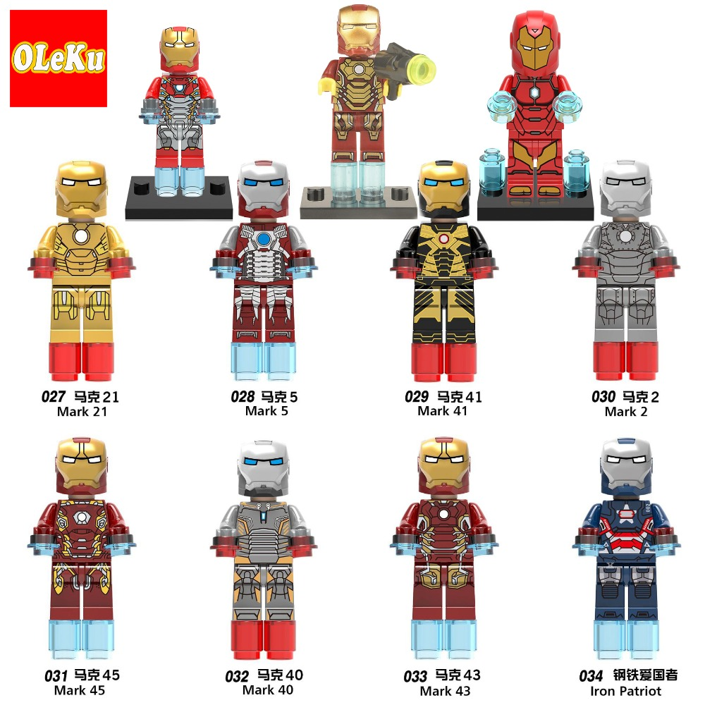 Iron Man Marvel Avengers Super Hero Figure Marvel Iron-Man Building Sets Model Bricks