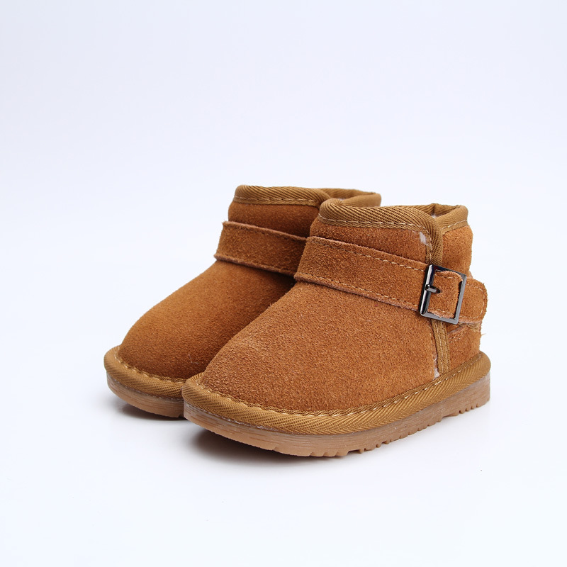 ФОТО High Quality 2016 Hot Sell Winter Fashion Leather Snow Boot Children Warm Buckle Strap Shoes Girl Boys Casual Boots BS-K4