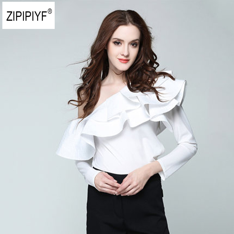 2018 Spring Summer Blouse Women Tops One Shoulder Petal Sleeve Skew collar Blouse Shirt Striped Double Layer Ruffle Blusas B1084
