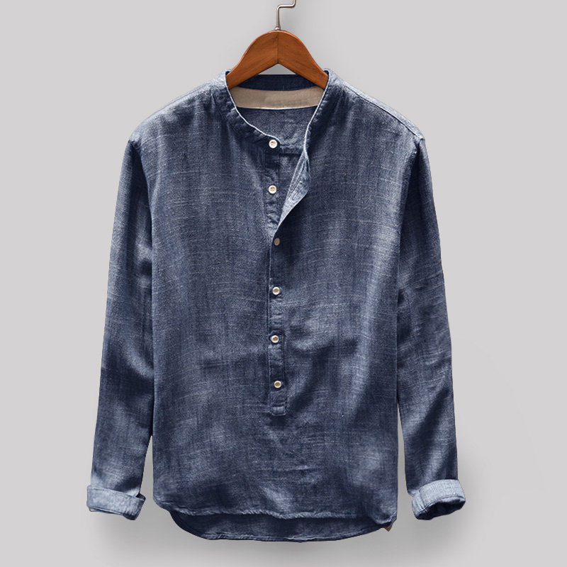 Men's Vintage Pullovers Loose Comfy Solid Color Button Stand Collar Shirts Male Long Sleeve Casual Fashion Autumn Blouse M-4XL
