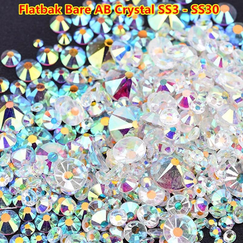 Mix Sizes Transparent Stone SS3-SS30 Glass Clear AB 3D Nail Rhinestones 1440pcs/lot Flat Back Non Hotfix Rhinestone