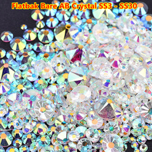 Mix Sizes Transparent Stone SS3-SS30 Glass Clear AB 3D Nail Rhinestones 1440pcs/lot Flat Back Non Hotfix Rhinestone