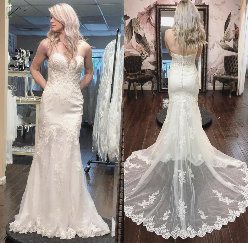 2020 New Wedding Dresses Sweetheart Lace Appliqued Beads Sleeveless Backless Wedding Gowns Real Images Mermaid Bridal Dress
