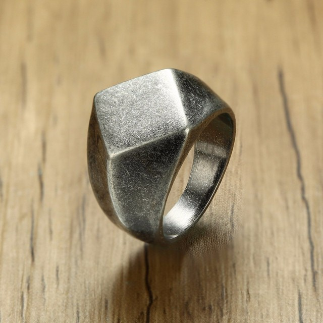 Men's Quadrangle Flat-Top Signet Ring for Men Jewelry Stainless Steel Vintage Oxidation Gray Male Jewellery Jewels